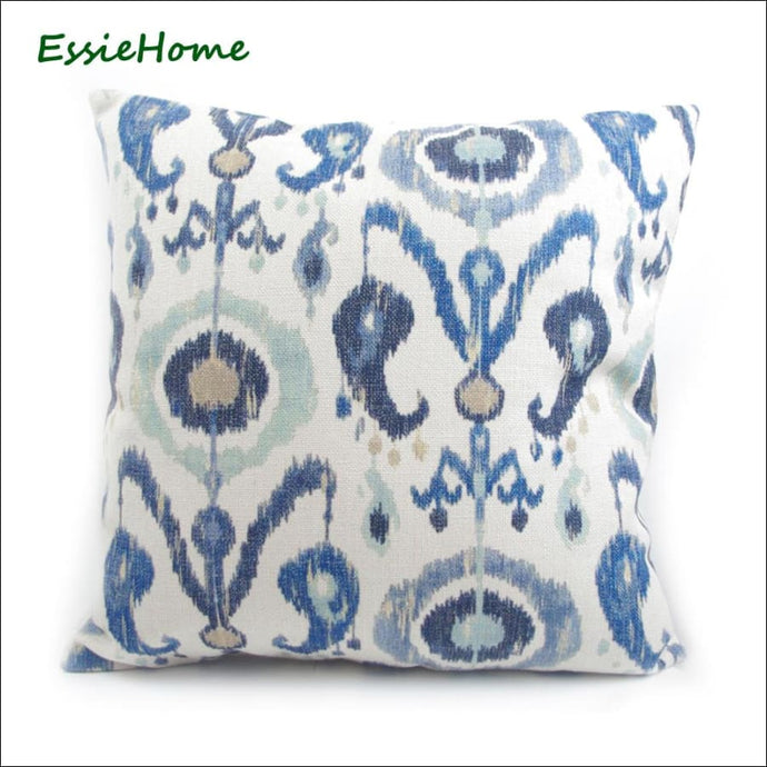 Light Blue Ikat Pattern Cushion Cover 45cm square in linen and cotton OAE - Samsara Online