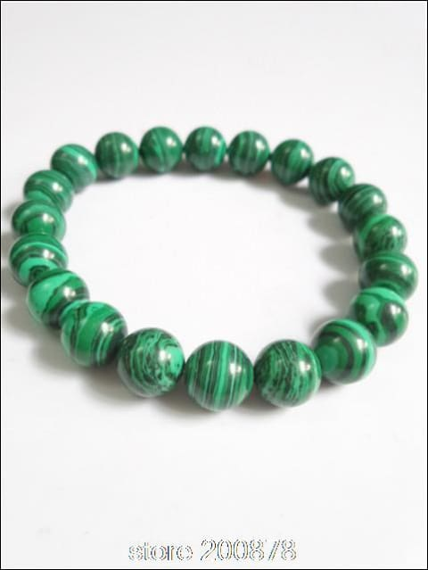 Malachite Beads Bracelet Stretch elastic 9mm 18cm long - Samsara Online