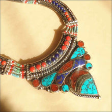 Nepalese copper inlaid Stone Pendant Necklace - Samsara Online