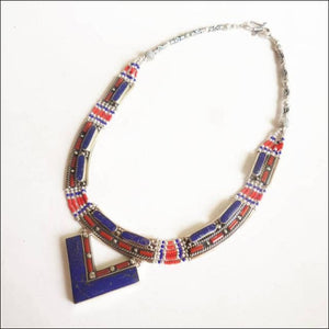 Nepalese white Copper handmade inlaid lapis coral pendant necklace click to choose design - Samsara Online