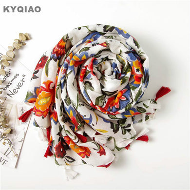 Boho floral cotton scarf 175cm long with tassels