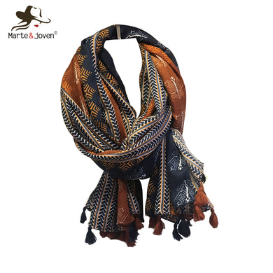 Ethnic style scarf in cotton 175cm long