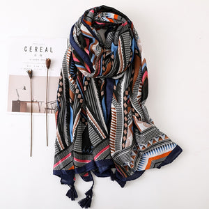 Long Tassel Ethnic Head or Hijab Scarf or Shawl