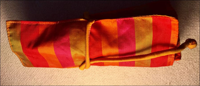 Pure silk striped gold and pinkish red jewellery roll pouch, hand made in Cambodia - Samsara Online