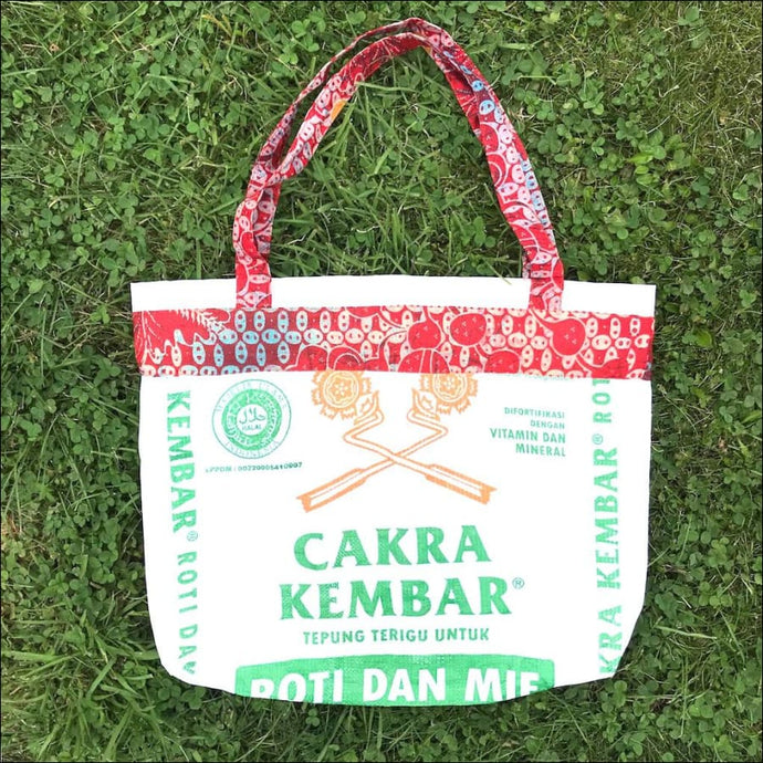 Recycled flour bag two handled shopping or beach bag handmade in Bali 50cmx40cm no closure - Samsara Online