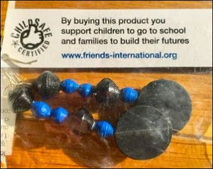 Recycled rubber tyre earrings made in Cambodia helping support kids and families. - Samsara Online