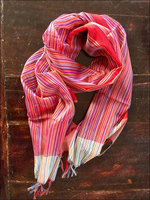Striped pure silk scarf from Kashmir in beautiful pinks, purples and reds, 175cmx47cm - Samsara Online