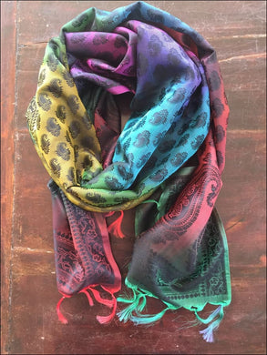 Stunning multicoloured pure silk rainbow scarf, 175cmx55cm with fringe - Samsara Online
