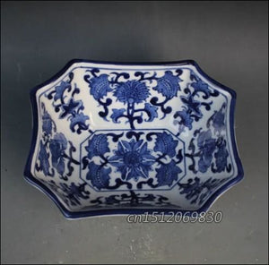 TNUKK  Exquisite Polygon Chinese Classical Blue and White Porcelain Antique Pot Jar,Painted with Flower Designs - Samsara Online