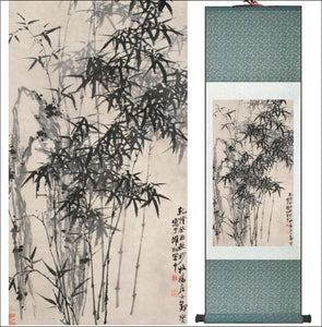 Traditional Chinese silk scroll painting bamboo OAE - Samsara Online