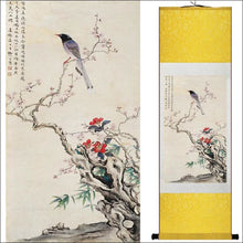 Traditional Chinese silk scroll painting bird and flowers OAE - Samsara Online
