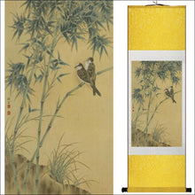 Traditional Chinese silk scroll painting birds and bamboo OAE - Samsara Online