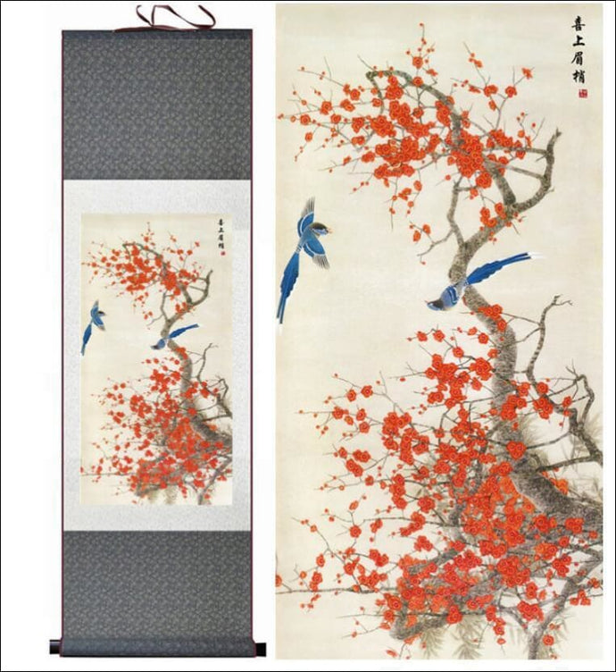 Traditional Chinese silk scroll painting birds and blossoms OAE - Samsara Online