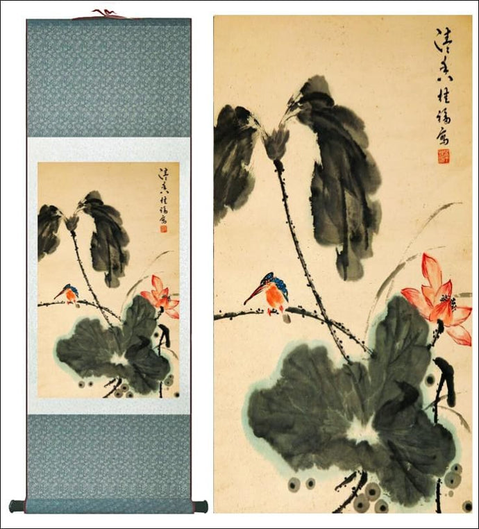 Traditional Chinese silk scroll painting birds and leaves - Samsara Online