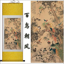 Traditional Chinese silk scroll painting birds and trees OAE - Samsara Online