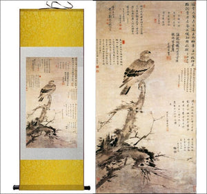 Traditional Chinese silk scroll painting calligraphy and bird OAE - Samsara Online