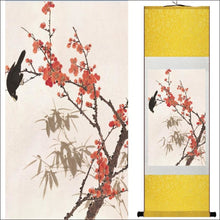 Traditional Chinese silk scroll painting flowers and bird OAE - Samsara Online