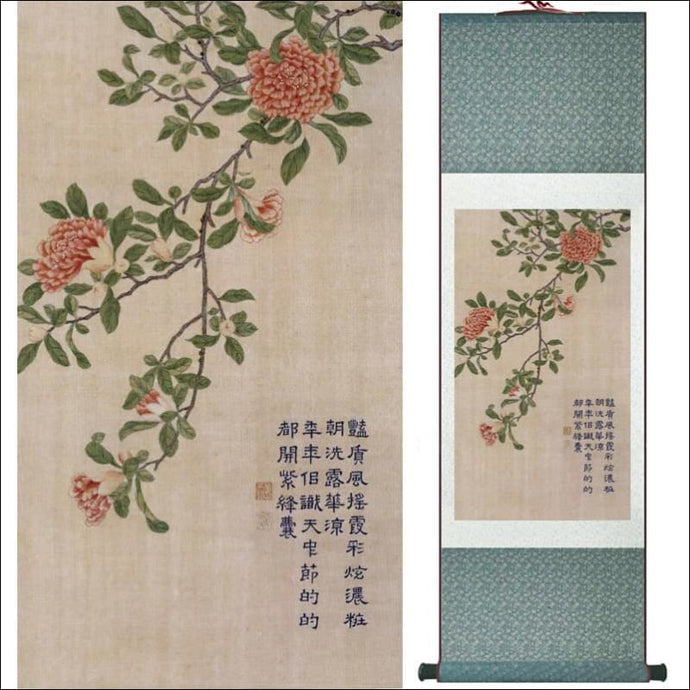 Traditional Chinese silk scroll painting flowers and calligraphy OAE - Samsara Online
