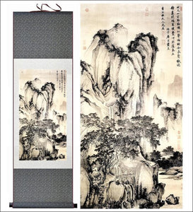 Traditional Chinese silk scroll painting, landsape OAE - Samsara Online