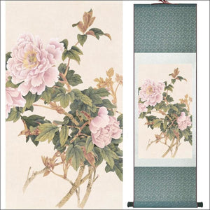 Traditional Chinese silk scroll painting peonies OAE - Samsara Online