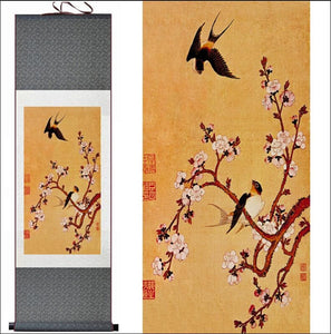 Traditional Chinese silk scroll painting plum blossom and birds OAE - Samsara Online