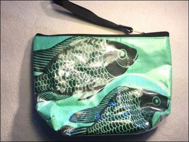 Waterproof lined turquoise blue cosmetics, toiletries or toothbrush bag with zip handmade - made from recycled rice bags - Samsara Online
