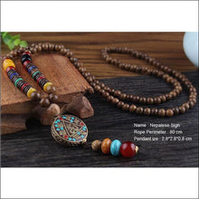 Wood Beads Necklace Handmade Nepalese Pendant Necklace 80cm long - Samsara Online