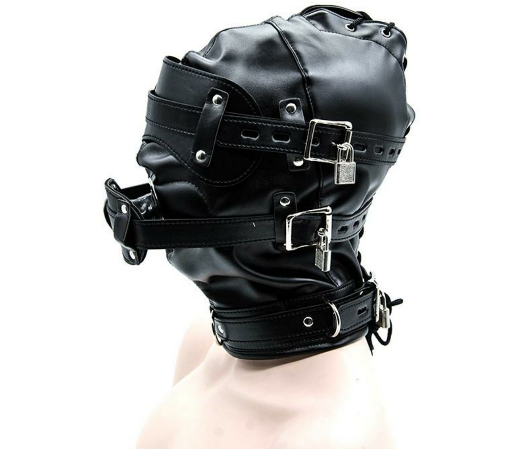 Faux Leather Hooded Mask Bondage - Sleeky