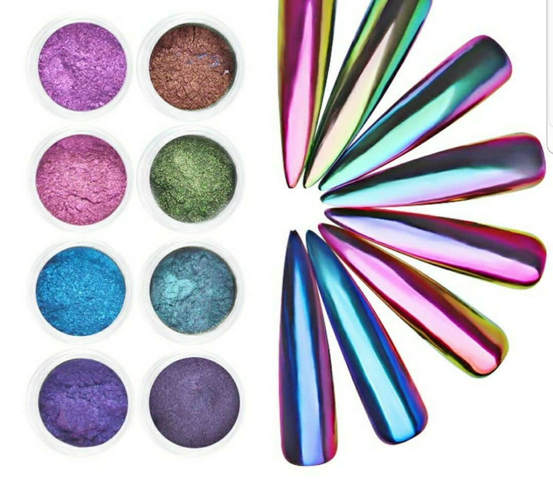Holographic Chrome Nail Glitter Mirror Effect Nail Powder Unicorn Nail 0.2g - Sleeky