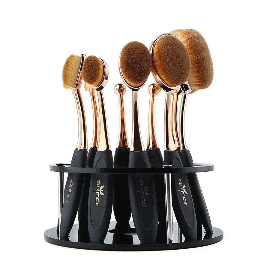 Oval Makeup Brushes Professional 10pcs  with Brush Holder - Sleeky