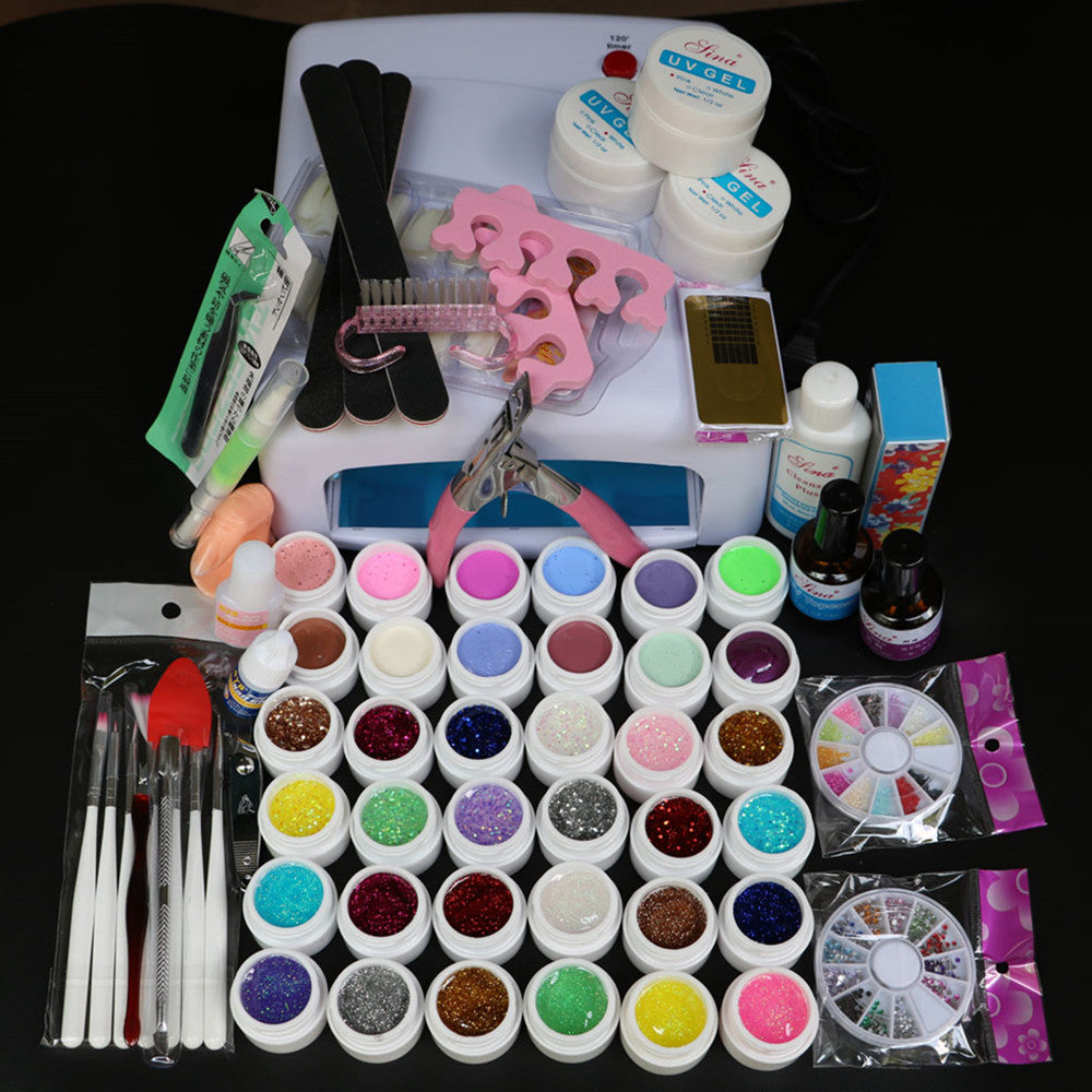 New Pro 24W Led 36W UV GEL polish with White Lamp & 36 Color UV Gel Nail Art Tools - Sleeky