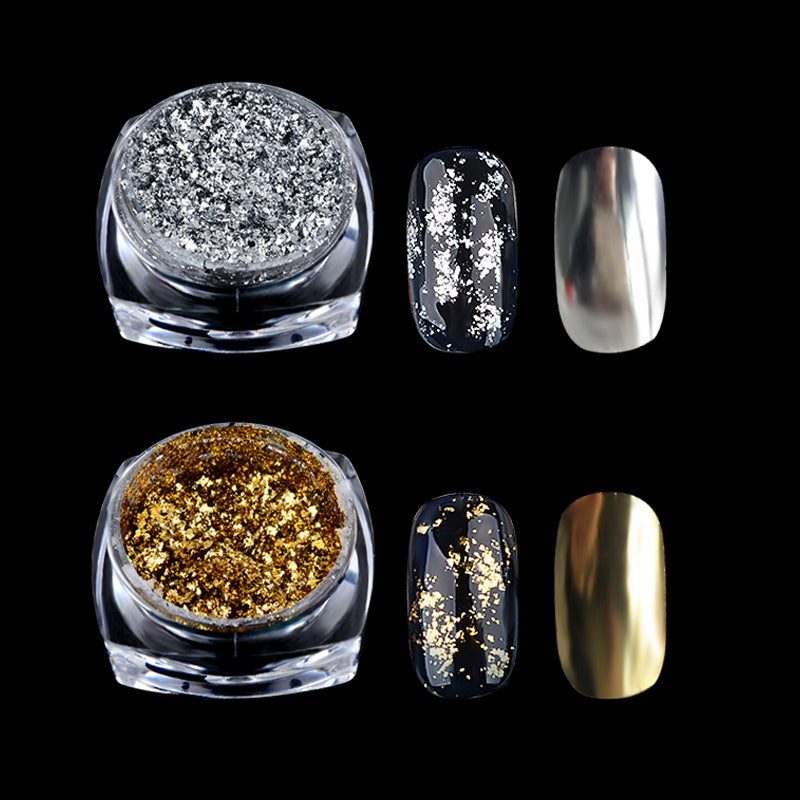 1 Box Gold Silver Glitter Mirror  Chrome - Sleeky