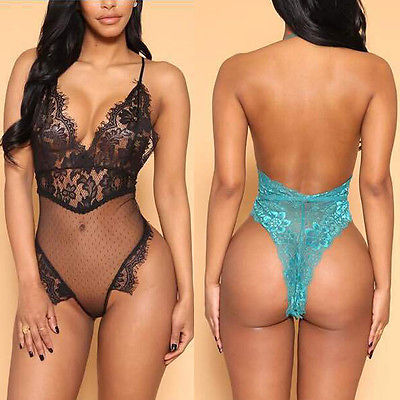 POP OUT V Plunge Lingerie Bodysuit - Sleeky