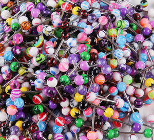 Mixed color acrylic tongue piercing 20 pieces - Sleeky