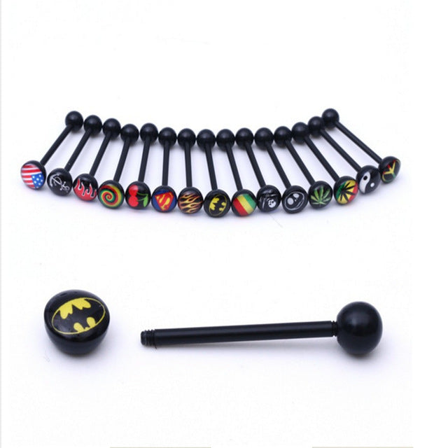 Mixed color acrylic tongue piercing 8-20 pieces - Sleeky