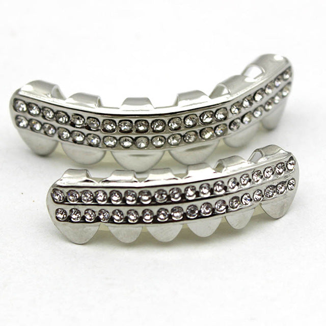Dental Grillz Teeth Caps Rhinestone Gold /Silver - Sleeky