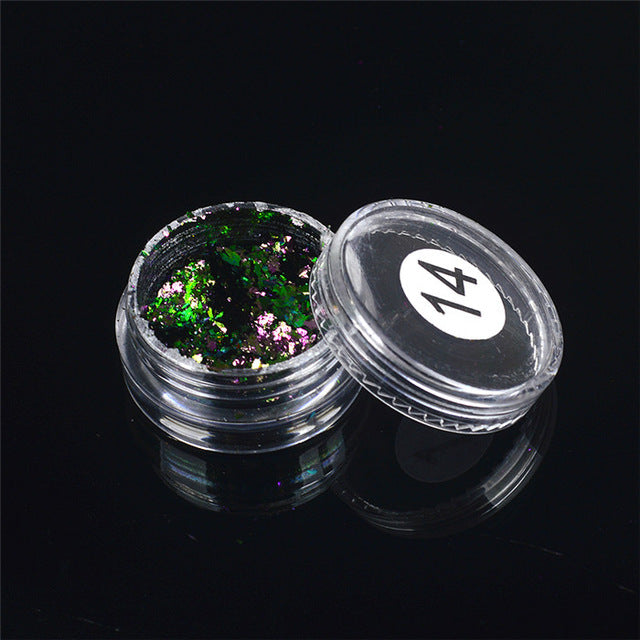 1 box Chameleon Nail Sequins Glitter Holographic Powder - Sleeky