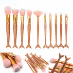 10Pcs Rose Gold Mermaid Makeup Brushes Eyebrow Eyeliner Blush Blending Contour Foundation Cosmetic - Sleeky