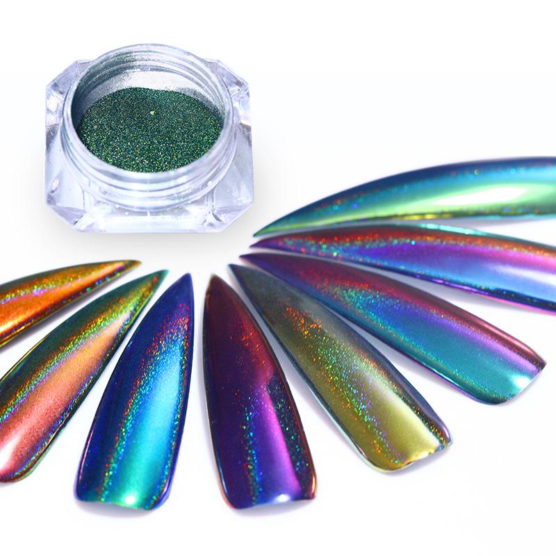 0.1g Peacock Holographic Chrome Nail Powder - Sleeky