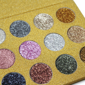 12 Colors Glitters Eye shadows  Cosmetic Pressed Glitters Magnet Palette - Sleeky