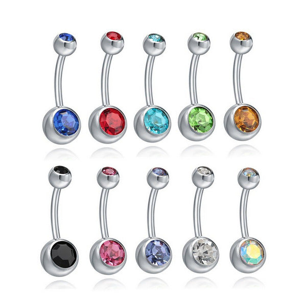 Stainless Steel Crystal Rhinestone Belly Button Ring - Sleeky