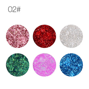 6 Colors Fan Shaped Metallic Waterproof Eyeshadow Palette - Sleeky