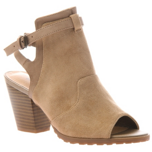 Taupe/light brown open toe bootie with open back strap