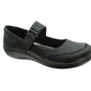 Black back to school shoe for girls. Velcro strap makes on/off quick easy.