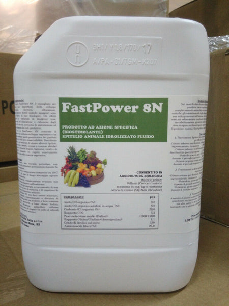 FAST POWER 8N biostimolante 20% aminoacidi liberi BIOLOGICO 6 kg. - Zuccarone.it