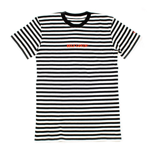 Self Lovin' Striped Tee - Black/White