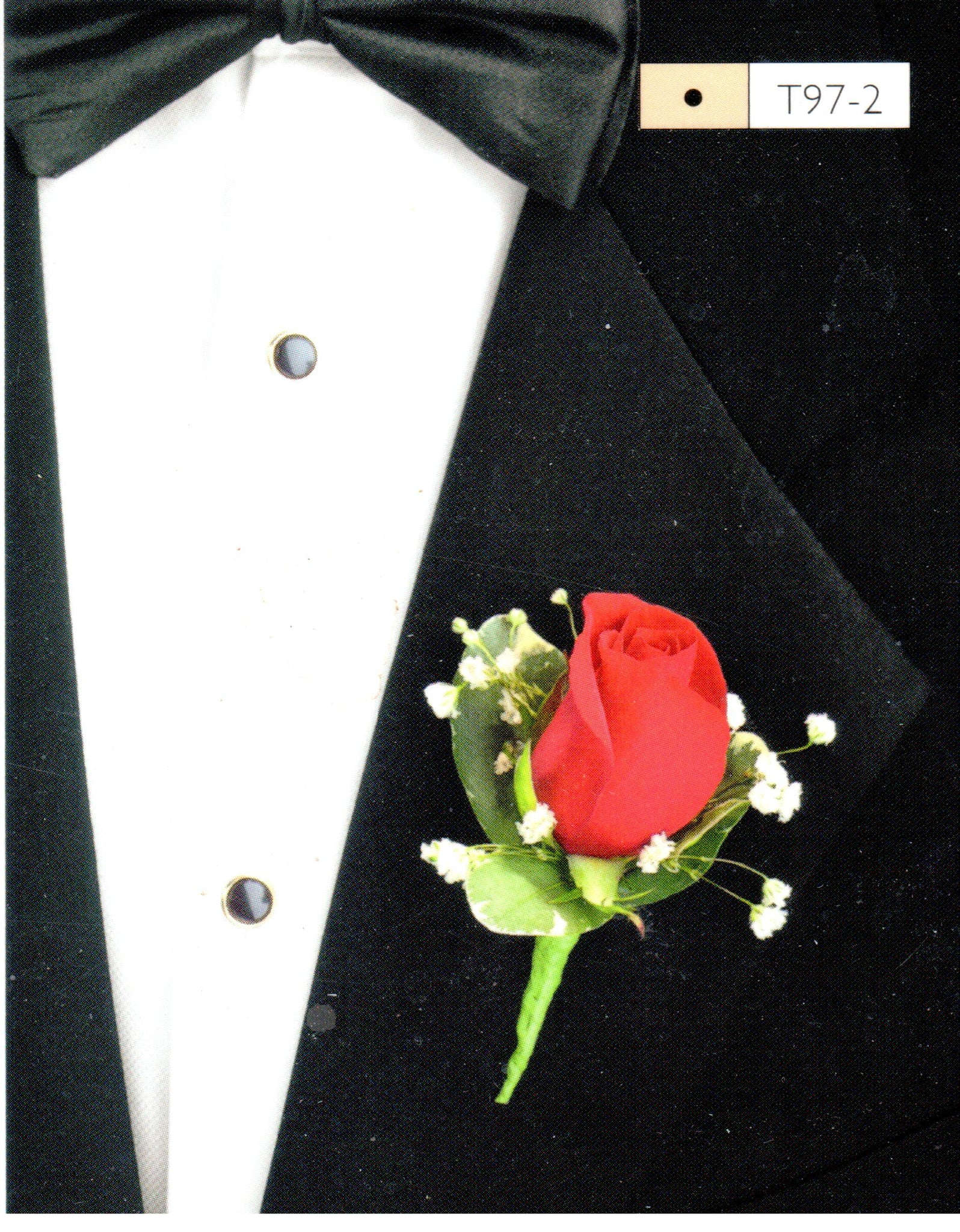 801 - Red Rose Boutonniere with Bayb's Breath