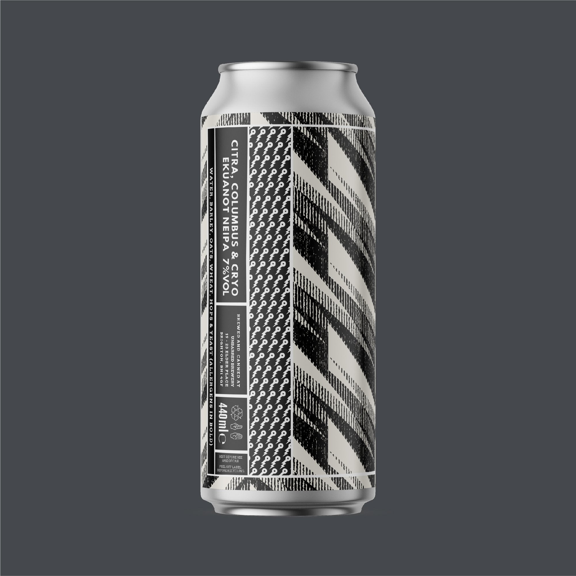 Unbarred Citra, Columbus & Cryo Ekuanot 7% abv NEIPA 440ml Can