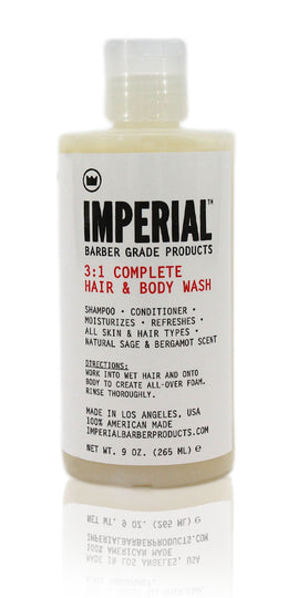 Imperial barber 3-1 complete hair & body wash 9oz.