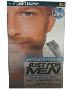 Just for men m-25 mustache & beard light brown (3 pack)